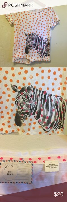 Anthropologie Zebra Tee Super cute tee! In excellent used condition EUC. Consider a bundle: negotiate and save on shipping. Polka dogs are salmon color (pink orange). Anthropologie Tops Tees - Short Sleeve
