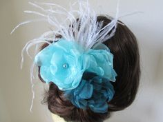 Teal and turquoise flower wedding hair clip accessory or brooch, corsage lapel pin, mini boquet. $28.00, via Etsy.
