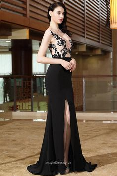 sexy black cap sleeve high slit lace appliqued prom evening gown