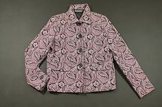 Liz Claiborne Blazer Jacket Womens Size Small Purple Black Paisley Print Career