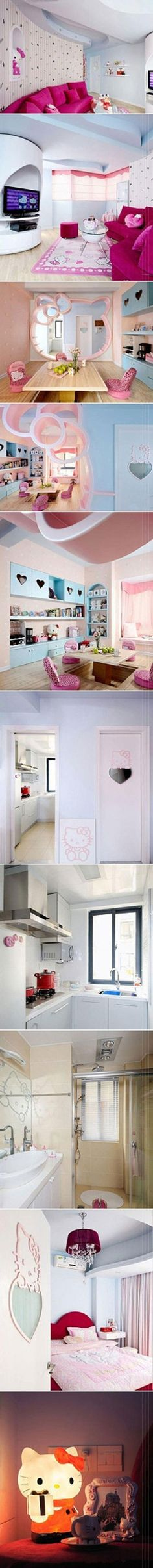 How fun would a Hello Kitty themed house be? Hello Kitty Bedroom, Hello Kitty House, Here Kitty Kitty, Kawaii Room, Hello Kitty Collection, Interior Exterior, New Room, Bohemian Decor, Decoration