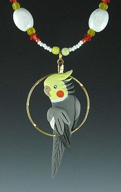 Cockatiel necklace earrings-bird jewelry by dawn