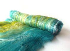 Blue Jade Green Batt - Merino wool -  Spinning - Felting - 100g - 3.5oz - MERINO MARINA