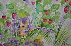 Original watercolor painting, 'Field Mouse with Wild Strawberries', by Lynn Cyrus / Cascade Colors. I decided earlier today that I really wanted to paint a mouse! I decided to place him in the middle of a small strawberry patch, hidden among the grasses and shadows, peeking out into the open air beyond. This piece is full of life, and the warm feel of spring and summer. Perfect for the animal and nature lover!