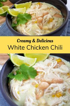 Easy Creamy White Chicken Chili | Hint of Healthy  Soups Creamy white chicken chili is a healthy, skinny alternative to traditional chili con carne. This mild Mexican version is kid friendly and a family favorite. Made quick and easy in one pan with chicken breasts, this is the weeknight dinner you need in your life. #healthy #wholesome #chickenbr