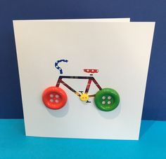 Bicycle Card with Button Wheels - Bike Card - Cycling Card - Paper Cut Handmade Greeting Card - Personalised Card - Birthday Card This fun hand cut bicycle with button wheels is the ideal card for any cycling mad child (or adult!) The tartan ribbon a Creative Birthday Cards, Birthday Cards For Men, Handmade Birthday Cards, Card Birthday, Birthday Greetings, Birthday Ideas, Handmade Greetings, Greeting Cards Handmade, Bicycle Cards
