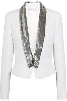 azzaro chainmail trimmed crepe jacket