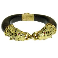 Gay Freres Wood and Gold Leopard Bangle