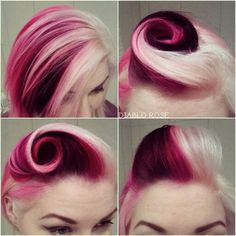Get this look with Manic Panic's Cleo Rose, Raven, Cotton Candy Pink and Virgin Snow!