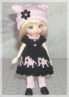 Amelia Thimble Dolls Black and Pink Elephant by JCsTinyTreasures, $25.00