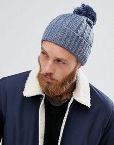 1c2f5feadebb1 ASOS Bobble Beanie In Denim Blue Cable Knit Beanies