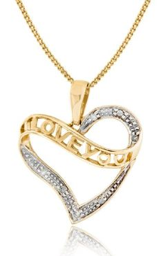 Carissima 9ct Yellow Gold 0.035ct Diamond 'I Love You' Heart Pendant on Chain Necklace