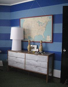 Vintage map used in a boys' room