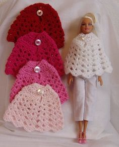 handarbeit Best 12 Poncho barbie, various colors Best 12 Ponch . : Best 12 poncho barbie, various colors Best 12 poncho barbie, various colors Barbie Clothes Patterns, Crochet Barbie Clothes, Doll Clothes Barbie, Barbie Dress, Barbie Doll, Dress Patterns, Poncho Crochet, Crochet Doll Dress, Knitted Dolls