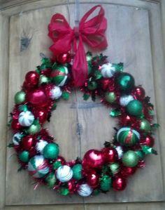 My homemade Christmas wreath! :) Thanks pinterest for the cute idea!!