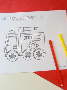 coloriage d'un camion de pompier facile