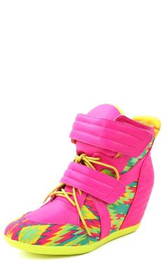 691fe8b58d6d94 Privileged Electric Neon Aztec Lace Up Wedge Sneakers NEON PINK