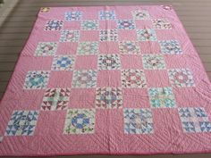 1930's Crown of Thorns Antique Feed Sack Quilt.  One of my favorite patterns.