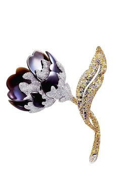 Chara Wen ~ Peony brooch with black obsidian, yellow and white diamonds, green tourmaline and ruby.