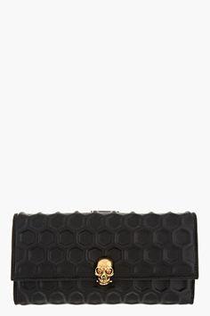 Alexander McQueen Black 3d Honeycomb Napa Leather Continental Wallet for women | SSENSE