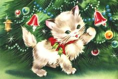 Sweet Kitten and Ornaments Vintage Christmas Card by PaperPrizes Cat Christmas Cards, Christmas Kitten, Noel Christmas, Christmas Animals, Retro Christmas, Xmas Cards, Christmas Greetings, Christmas Doodles, Vintage Christmas Images