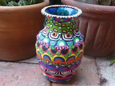 Upcycled Glass Vase Multi Colored Multi Patterned by CrazieHappy, $40.00