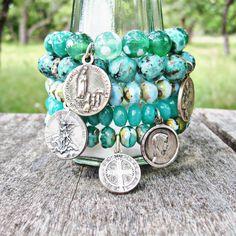 Light Turquoise Blue Czech Glass Bracelet with Antique Catholic Saint Michael Medal by Peta Fletcher Designs