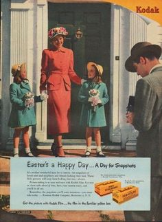 "1949 KODAK vintage print ad ""Easter's a Happy Day ... A Day for Snapshots""""Get the picture with Kodak Film ... the film in the familiar yellow box. Eastman Kodak Company, Rochester 4, N. Y."""