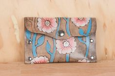 Leather Pouch - Coin Purse - Card Case - Business Card Holder - Handmade in the Aurora pattern - Flowers and vines in white, pink, turquoise