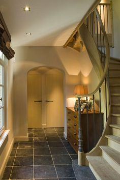 Welcome home on a winters evening. Interior Architecture, Interior And Exterior, Villas, Painted Staircases, Arts And Crafts House, House Stairs, French Interior, Staircase Design, Stairways