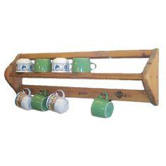 Penny Pine Mug Rack by Somerset Pine … Do It Yourself Organization, Mug Display, Pine Kitchen, Kitchen Organisation, Mug Rack, Plate Racks, Rack Shelf, Wooden Walls, Diy Storage
