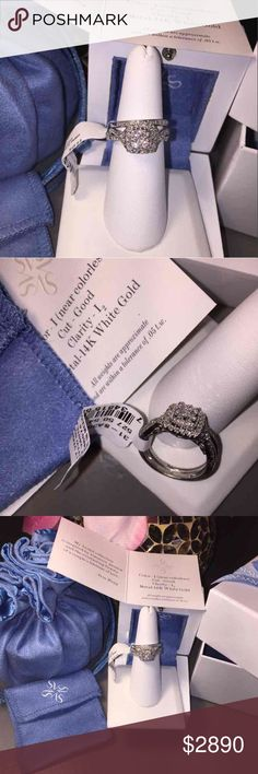 14K White Gold 1/2 Ct. Certified Diamond Ring Set Adorned with a cluster of round-cut diamonds situated in a square halo motif, this 14k white gold certified engagement ring set is simply beautiful. Ring comes in signature blue and white packaging, including a wooden ring box, satiny pouch, gift box with ribbon, and gift bag.   SET DETAILS * Includes: 2 rings * Total width: 5 mm * Metal: 14k white gold DIAMOND DETAILS * Total weight: 1/2 ct. * Shape: round brilliant * Color grade: I…