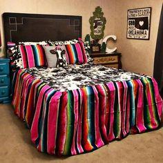 Mad Cow Bedding Set- Cow Print Sham - Bedding Set - Ideas of Bedding Set - Mad Cow Bedding Set- Double Sham Cowgirl Bedroom, Western Bedroom Decor, Western Rooms, Western Decor, Western Bedding, Gypsy Bedroom, Teen Bedding, Comforter Sets, Western Furniture