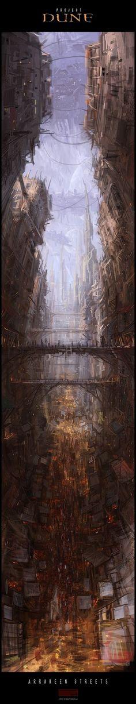 Mark Molnar - Escenarios y arte conceptual del proyecto Duna calles de Arrakeen.