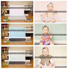Great concept, 2-in-one canvas backdrops. So simple. Would be great for milestone pictures for babies.