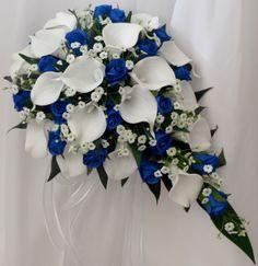 Latex white calla lily , royal blue roses, gyp sprays teardrop