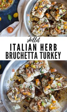 Skillet turkey cutlets served bruschetta-style with fresh basil, tomatoes, and tangy balsamic vinegar. Turkey Bruschetta is the best turkey breast recipe! Turkey Cutlet Recipes, Cutlets Recipes, Ground Turkey Recipes, Easy Meal Prep, Healthy Meal Prep, Healthy Recipes, Thanksgiving Dinner Recipes, Delicious Dinner Recipes, Delicious Dishes