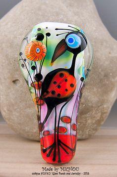 Long Nose Paradise Bird Art Glass Statement by michoudesign