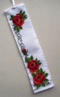 Cross Stitch Bookmarks, Crochet Bookmarks, Cross Stitch Borders, Cross Stitch Rose, Cross Stitch Flowers, Cross Stitch Designs, Cross Stitching, Cross Stitch Patterns, Ribbon Embroidery
