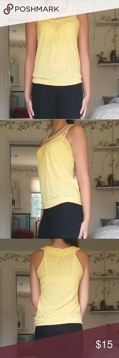 Yellow Embroidered Forever 21 Top Small Embroidered top. Sold as a small. Lightly worn as seen in the picture. Forever 21 Tops Blouses