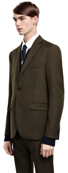 Drifter dark green twill jacket #AcneStudios #menswear #PreFall2014