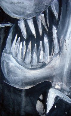 """""""Tiburon 2"""", acrilico sobre lienzo, 65 x 70 cm. , 1998. by Diego Manuel"""