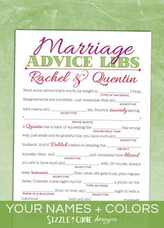 14 Free, Fun, and Printable Wedding Mad Libs | Pinterest | Rehearsal ...