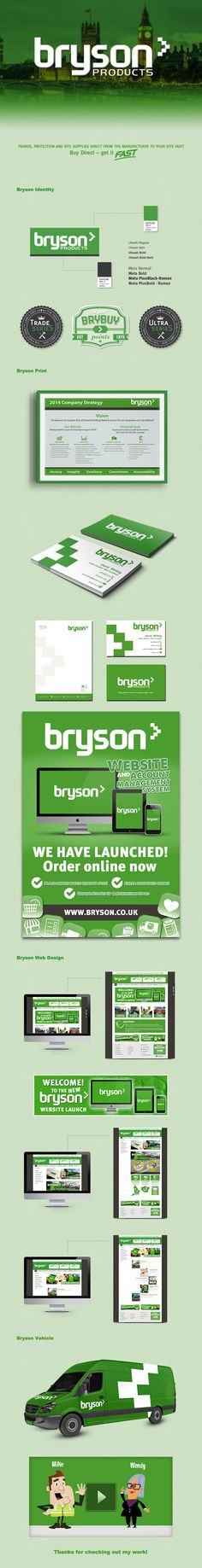 Bryson Identity - Logo, Letterhead, Business Card, Website, Vehicle - by David Whiting Web Design, Logo Design, Graphic Design, Letterhead Business, Identity Branding, Over The Years, Retro Vintage, I Am Awesome, Vehicle