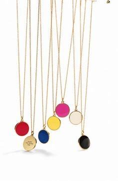 LOVE these kate spade pendant necklaces - they each have a different saying on them $58