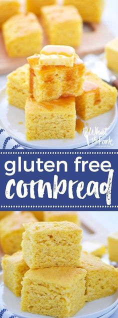This super quick and easy gluten free cornbread recipe is sure to be a family hit. It's can easily be made dairy free too! Serve it for a dinner side dish with chili, or bbq, or even have it for breakfast with a drizzle of honey. Recipe from @whattheforkblog | whattheforkfoodblog.com | gluten free bread recipes | easy gluten free recipes | gluten free baking | how to make gluten free cornbread | the best gluten free cornbread recipe