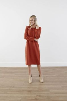 Modest Clothing, Red Brown Puffed Sleeve Dress, Modest Clothes