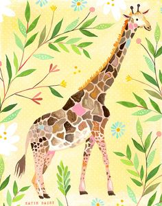 Giraffe    vertical print by thewheatfield on Etsy, $18.00 @Mariah Bianchi how cute is this??
