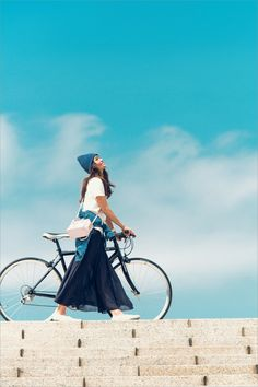 I love the bicycle, and the cute peaked cape, and the flowing skirt, and the comfy looking shoes, and the rich indigo and crisp white colour scheme. Japan Fashion, Look Fashion, Persona, Mein Style, Cycle Chic, Bicycle Girl, Bike Style, Lady, Beautiful