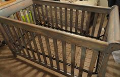 We refinished the crib to make it look antiqued and rustic- I love how it came out!!